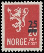 Norway 1949 25ø provisional unmounted mint.