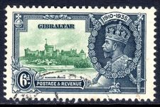 Gibraltar 1935 6d Jubilee with Extra Flagstaff fine used.