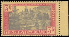 Monaco 1924-33 3fr lavender and red on yellow fine mint lightly hinged.
