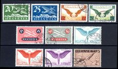 Switzerland 1923-40 Airmail set on chalky grilled paper exceptionally fine used.