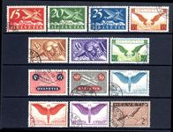 Switzerland 1923-40 Airmail set on ordinary smooth paper exceptionally fine used.