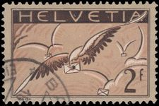 Switzerland 1923-40 2 fr Airmail on chalky grilled paper exceptionally fine used.