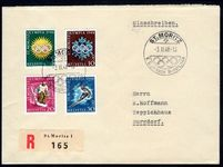 Switzerland 1948 Winter Olympics set on fine cover with St Moritz cachet.