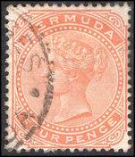 Bermuda 1880 4d orange-red crown CC fine used.