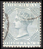 Bermuda 1883-1904 3d grey crown CA fine used.