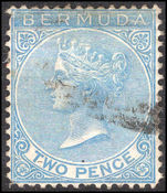 Bermuda 1865-1903 2d dull blue crown CC fine used.