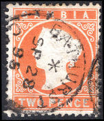 Gambia 1886-93 2d deep orange wmk CA sideways fine used.
