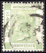Hong Kong 1882-96 30c yellow-green Crown CA fine used.
