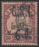 Samoa 1914 New Zealand Occuption 6d on 50pf fine used with inverted 9 for 6.