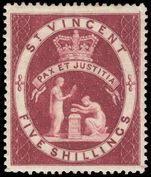 St Vincent 1885-93 5sh Lake fine mint lightly hinged.