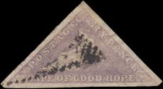 Cape of Good Hope 1855-63 6d pale rose lilac triangular Perkins Bacon fine used with good margins all round.