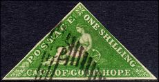 Cape of Good Hope 1855-63 1sh bright yellow-green Perkins Bacon fine used good margins. Parisienne dealers handstamp.