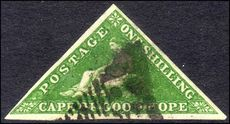 Cape of Good Hope 1855-63 1sh bright yellow-green triangular Perkins Bacon fine used with good margins all round.
