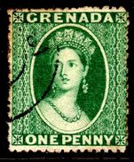 Grenada 1873 1d deep green wmk small star sideways clean-cut perf 15 fine used.