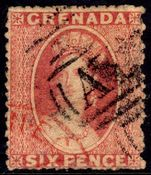 Grenada 1861-62 6d rose red no watermark fine used.