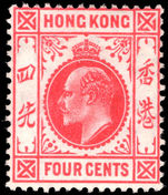 Hong Kong 1907-11 4c Carmine unmounted mint.