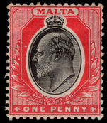Malta 1904-14 1d black and red lightly mounted mint.