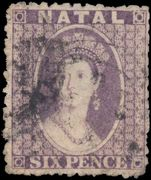 Natal 1863-65 6d lilac wmk Crown CC fine used.