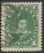 Newfoundland 1887-88 1c green fine used tiny almost invisible thin.