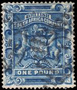 Rhodesia 1892-93 £1 blue postally used.