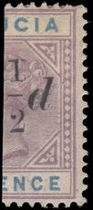 St Lucia 1891-92 ½d on 6d bisect fine mint hinged.
