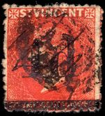 St Vincent 1881 4d on 1sh bright-vermillion used with pen-cancel and postmark.