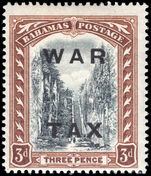 Bahamas 1919 3d black and brown WAR TAX lightly mounted mint.