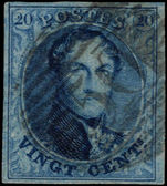 Belgium 1861 20c blue no wmk fine used 4 margins.