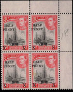 Bermuda 1940 provisional in corner marginal block of 4 unmounted mint.
