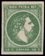 Spain 1873 50c green Carlist issue on white paper with reversed Greek Key lightly mounted mint.