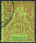 Diego Suarez 1894 20c red on green fine used.