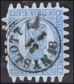 Finland 1866 20k pale blue on blue fine used some missing teeth.