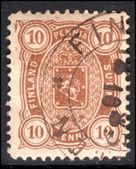 Finland 1875-84 10p yellow-brown perf 12½ fine used.