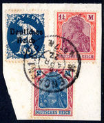 Germany 1922 1.25m and 2m on piece fine used.