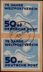 East Germany 1949 UPU 2x copies on piece fine used.