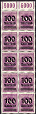 Germany 1923 100T on 100m in superb marginal block of 10 unmounted mint.
