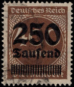 Germany 1923 250T on 400m brown fine used.