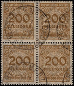 Germany 1923 200m block of 4 fine used.