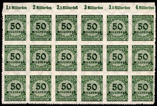Germany 1923 50m roulette in superb marginal block of 18 unmounted mint.