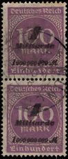 Germany 1923 1Md Hitler provisional in vertical pair fine used.