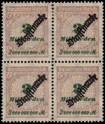 Germany 1923 2Md official block of 4 top two hinged lower two unmounted mint.