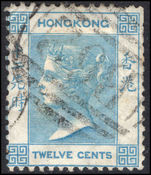 Hong Kong 1863-71 12c pale greenish-blue crown CC fine used.