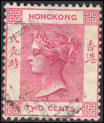 Hong Kong 1882-96 2c rose-pink crown CA fine used.
