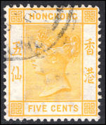 Hong Kong 1900-01 5c yellow Crown CA fine used.