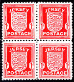 Jersey 1941-42 1d scarlet ordinary paper block of 4 unmounted mint.