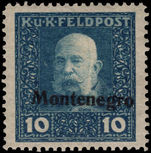 Austro-Hungarian Military Post Montenegro 1917 10h light blue lightly mounted mint.