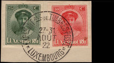Luxembourg 1922 Philatelic Exhibition fine used on piece.