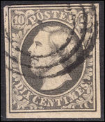 Luxembourg 1852-58 10c grey-black 4 margins fine used.