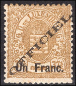 Luxembourg 1875-80 Un Franc Official perf 13 lightly mounted mint.