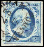 Netherlands 1852-63 5c blue unplated, 4 margins fine used.
